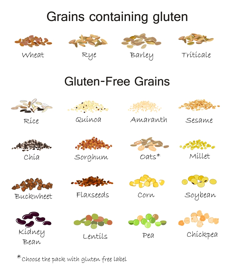 Gluten-free and gluten-containing foods