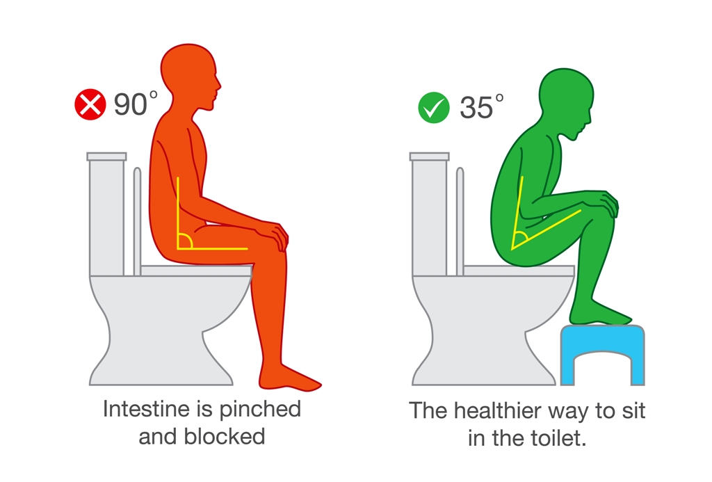 Correct sitting posture vs wrong sitting posture on toilet seat