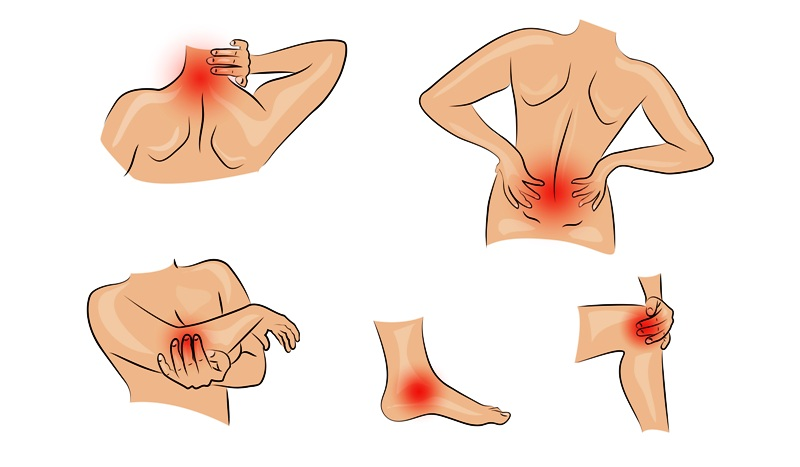 Illustration of joint injuries and pain due to osteoarthritis